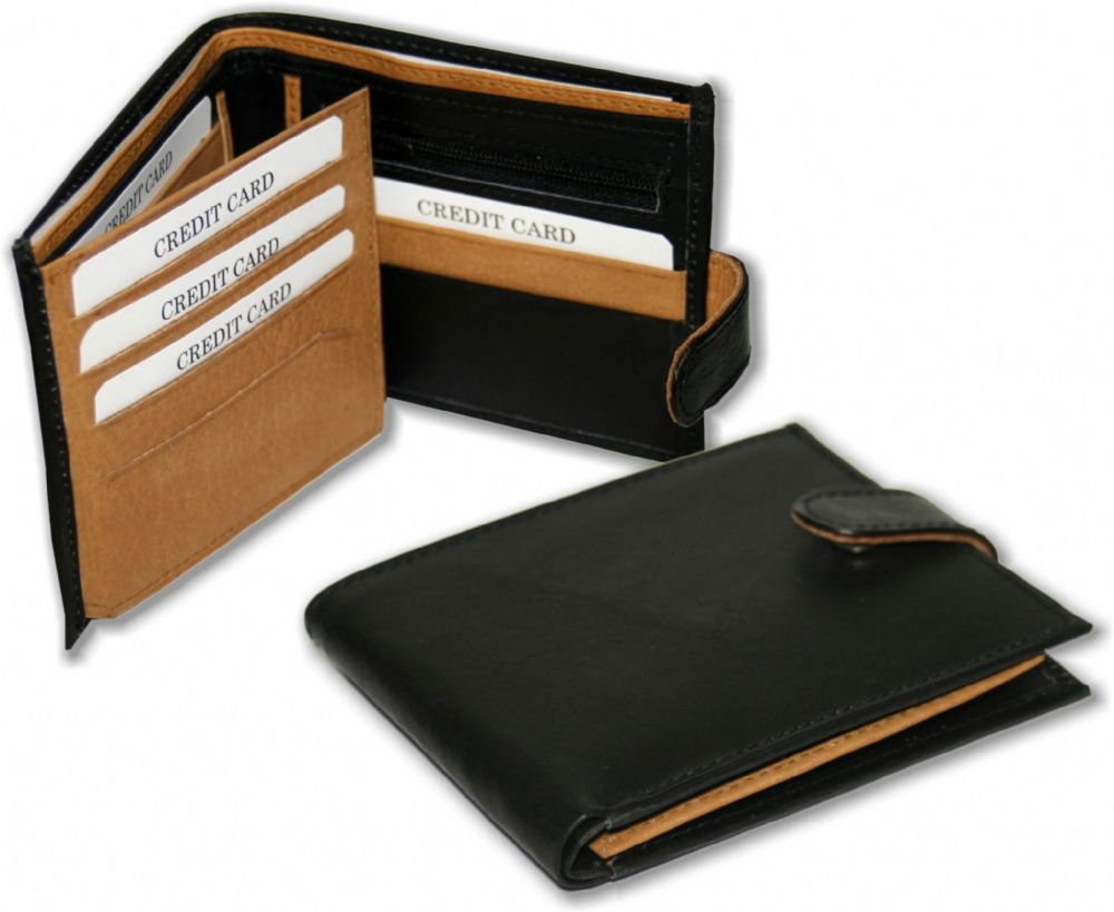 Real Leather Two Tone Wallet with Fold Out Card Section in Black/Tan